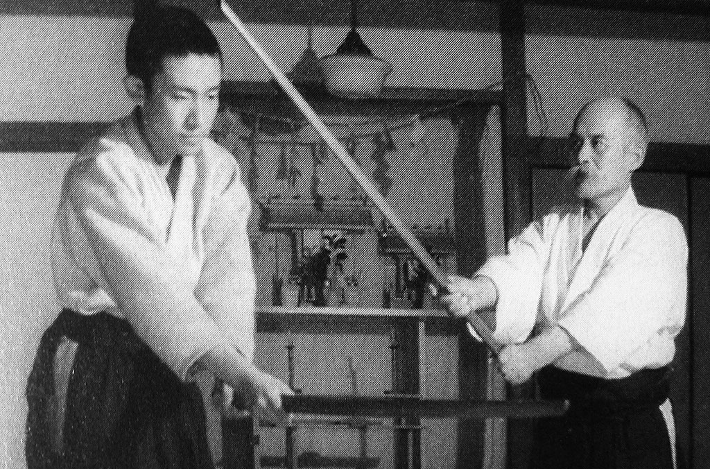 Weapons practice between O Sensei and Kisshomaru