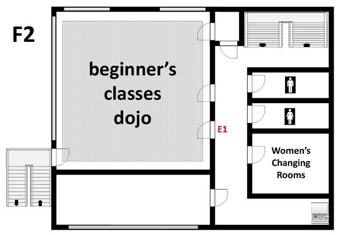 F2 floor map of the Aikikai Hombu Dojo