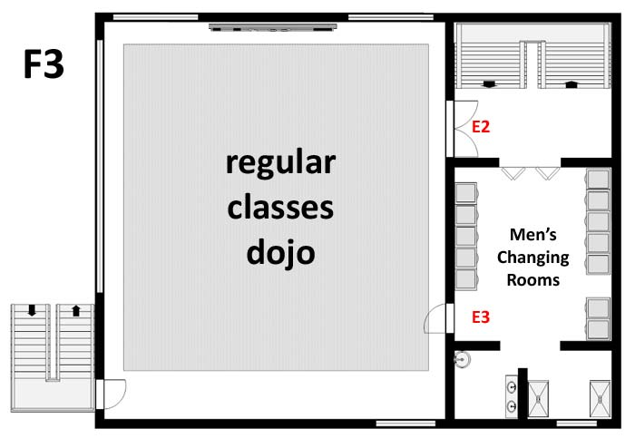F3 floor map of the Aikikai Hombu Dojo