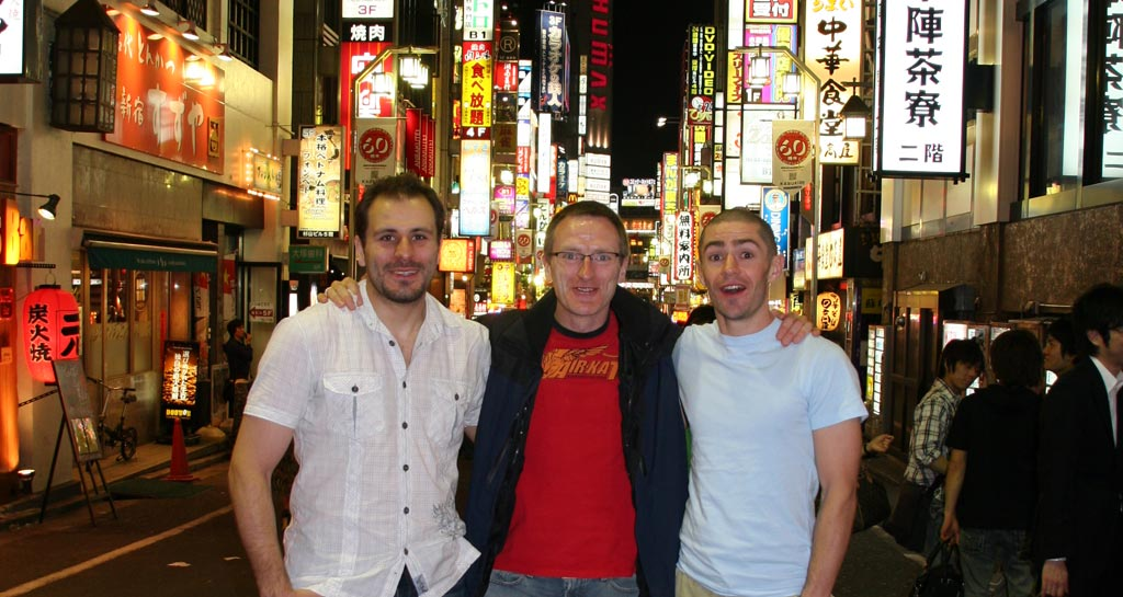 Guillaume Erard, Gerry Ring and Denis McCrann in Kabukicho